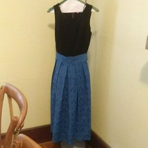 Blue and black cocktail dress